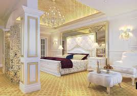 luxury bedroom furniture. luxury bedroom golden ceiling and white furniture