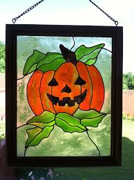 colored glass sheets luxury decor glass pumpkin faux stained glass pumpkin decor
