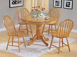 5pc country style oak finish wood round dining table 4 windsor chair set on