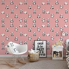 Awesome Pink Panda Removable Wallpaper / Cute Self Adhesive Wallpaper