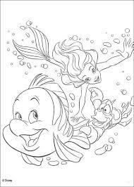 Kleurplaat De Kleine Zeemeermin Sebastiaan Ariel En Botjeariel
