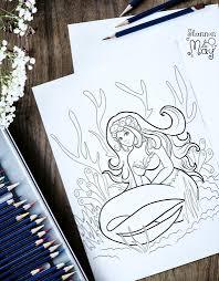 Printable Coloring Page Coral Reef Manga Mermaid Digital Etsy
