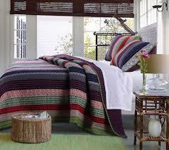 Elegant Striped Rustic Bedding Twin XL Full/Queen King Bedspread ... & Elegant Striped Rustic Bedding Twin XL Full/Queen King Bedspread Quilt Set  Red Blue Green Purple Adamdwight.com