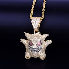 Silver / gold tennis cross pendant iced necklace moissanite pass diamond tester. Iced Out Gengar Pokemon Pendant Chainswagger