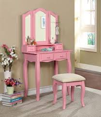 claudia pink makeup vanity table mirror and bench dk black set w claudia iddk pk