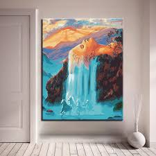 2018 hand paint oil painting by numbers white hair waterfall landscape pictures drawing diy coloring on canvas living room wall art from framedpainting