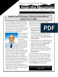 Messages from the Mountain, March 2010 | Shabbat | Rabbi