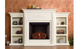 details about harper 70 inch ivory electric fire place bookcase mantel white thermostat mdf