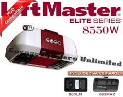 liftmaster 8550w elite series dc battery backup belt drive wi fi garage door opener for 7ft doors includes rail