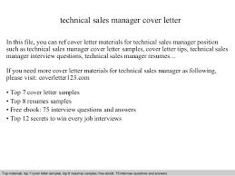 Technical Manager Cover Letter Technical Sales Manager Cover Letter
