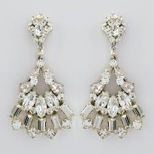 erin cole deco bridal chandelier earrings with fan drop crystal chandelier earrings