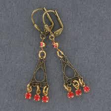 1089 art deco rhinestone earring