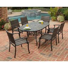 Stone harbor 7 piece slate tile top rectangular patio dining set with newport chairs