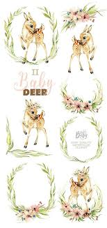 <b>Little Baby Deer</b>. Watercolor animal clipart flowers roe | Etsy | Baby ...