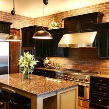 Dark Kitchen Cabinets With Light Granite Beauteous Dark Cabinets With Granite And Brick Dream Kitchen Maybe Charcoal