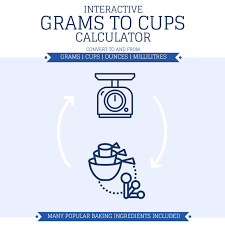 Grams To Cups Interactive Calculator Includes Cups Grams