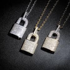 arrived diamond lock pendant necklace
