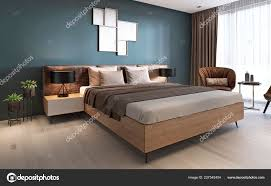 Blue walls brown furniture Cherry Furniture Contemporary Bedroom Dark Blue Walls Light Furniture Two Brown Chairs Stock Photo Fxshareinfo Contemporary Bedroom Dark Blue Walls Light Furniture Two Brown