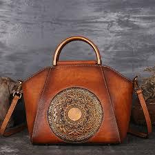 women genuine leather vintage totem designer handbag shoulder bag brown cod