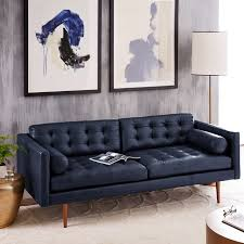 monroe mid century leather sofa 80 west elm with regard to blue leather furniture renovation