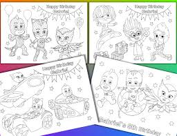 Small Picture PJ Masks coloring pages PJ Masks Birthday Party Favor PDF