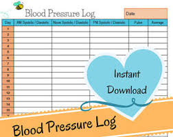 blood pressure and blood sugar log sheet blood pressure log etsy