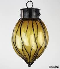 Hand Blown Clear Glass Wrought Iron Mexican Pendant Light
