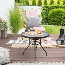 outdoor rattan dining table tempered