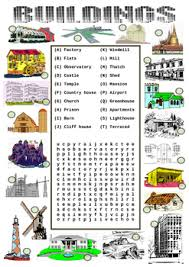 Vocab Building Worksheets Types Of Buildings Worksheet Match To The Picture And A Wordsearch