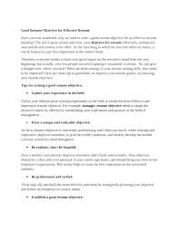 How To Write A Great Resume Extraordinary Writing Good Resume Objective A For Examples Of Objectives Samples