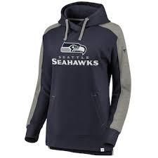 Splatter Women's Pro Logo Seattle Navy Line Pullover Branded Hoodie College Size Seahawks Nfl Plus Fanatics By