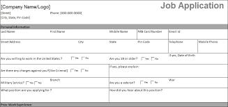 Job Application Form Practice Filling Job Application