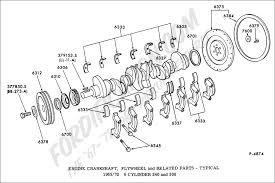 ford truck technical drawings and schematics section e engine engine crankshaft flywheel and related parts typical 1965 1972 6 cylinder 240 and 300