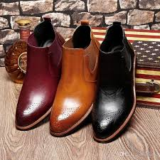 us 6 10 mens genuine leather pointy toe formal dress business oxford brogue wingtip ankle boots chukka shoes winter leather boots wellies boots for women