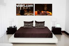 Kitchen Art Wall Decor 2 Piece Black Canvas Wine Home Decor Fruits Wall Art