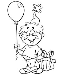 Small Picture Birthday Coloring Page A Boy With A Gift Balloon