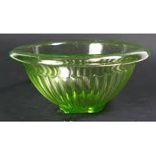 hocking green depression glass 1qt panelled mixing bowl