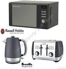 goodmans copper microwave. grey russell hobbs microwave, breville strata kettle + toaster kitchen set new goodmans copper microwave