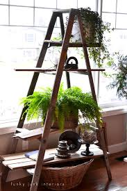 Wooden Ladder Display Stand A winter ladder plant stand with memories attached Plant 59