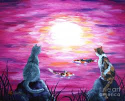 zen painting moonlight on pink water by laura iverson