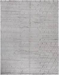 rugsville beni ourain silver wool silk moroccan rug 270x370cm