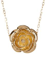 image of 14k yellow gold rose flower pendant necklace