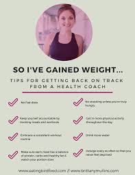 graphic of tips from a health coach about what to do when you gain weight back