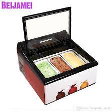 2019 beijamei new arrival 3 pans tabletop gelato display freezer electric countertop ice cream gelato showcase cabinets from beijamei