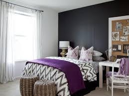 living ideas bedroom dark grey accent wall purple items