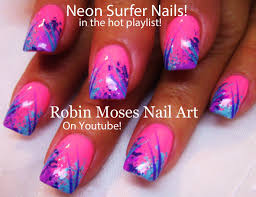 Easy HOT Nails! DIY Neon Pink Surfer Nail Design Tutorial! - YouTube