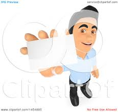 Clipart Graphic Of A 3d Man Holding A Business Card On A White