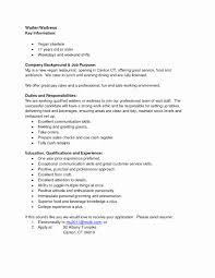 Bartender Job Description Resume Inspirational Resume For A Waiter