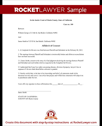 Divorce Notice Format Delectable Affidavit Of Consent Form Divorce Affidavit Sample Template