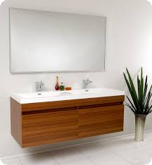 Small Picture Fresca Largo Teak Modern Bathroom Vanity and Wavy Double Sinks